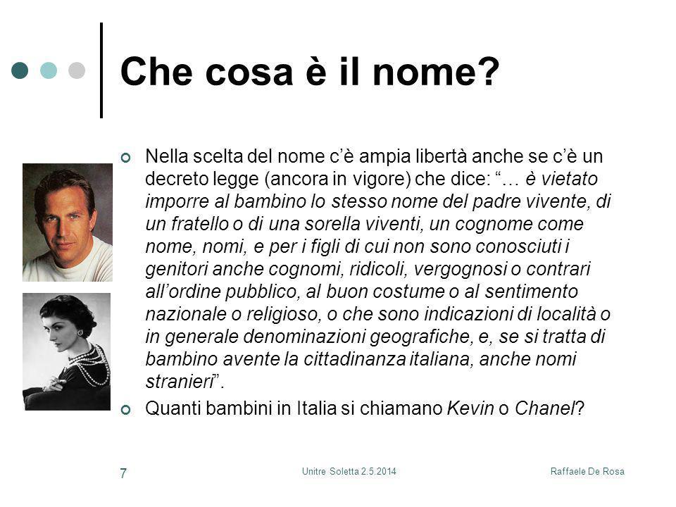 Raffaele De RosaUnitre Soletta 2.5.2014 7 Che cosa è il nome? Nella scelta del nome c'è ampia libertà anche se c'è un decreto legge (ancora in vigore)