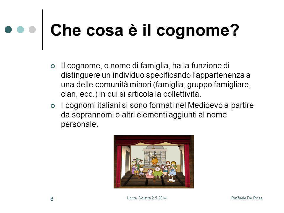 Raffaele De RosaUnitre Soletta 2.5.2014 8 Che cosa è il cognome? Il cognome, o nome di famiglia, ha la funzione di distinguere un individuo specifican