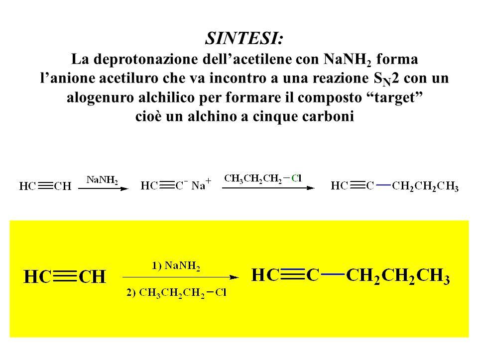 SINTESI: La deprotonazione dell'acetilene con NaNH 2 forma l'anione acetiluro che va incontro a una reazione S N 2 con un alogenuro alchilico per form