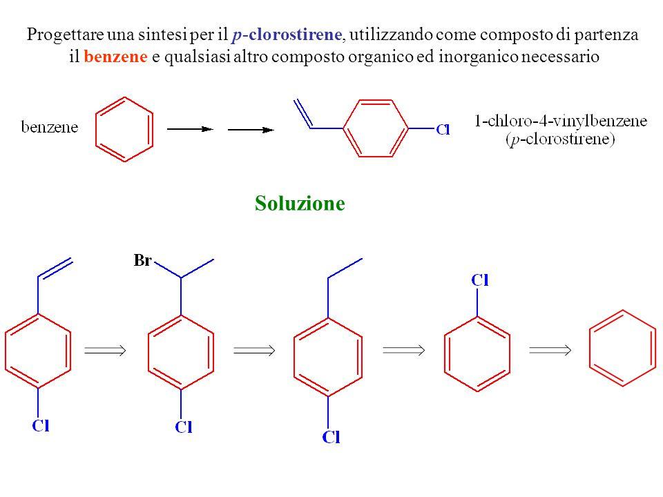 Progettare una sintesi per il p-clorostirene, utilizzando come composto di partenza il benzene e qualsiasi altro composto organico ed inorganico neces