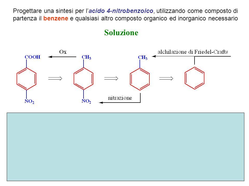 Progettare una sintesi per l'acido 4-nitrobenzoico, utilizzando come composto di partenza il benzene e qualsiasi altro composto organico ed inorganico