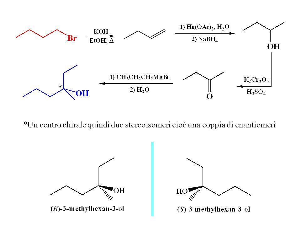 * *Un centro chirale quindi due stereoisomeri cioè una coppia di enantiomeri