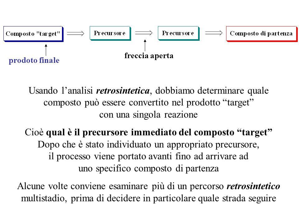 """prodoto finale freccia aperta Usando l'analisi retrosintetica, dobbiamo determinare quale composto può essere convertito nel prodotto """"target"""" con una"""
