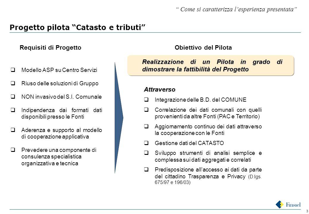 3 Progetto pilota Catasto e tributi Requisiti di Progetto  Modello ASP su Centro Servizi  Riuso delle soluzioni di Gruppo  NON invasivo del S.I.