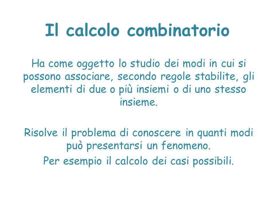 Il calcolo combinatorio Ha come oggetto lo studio dei modi in cui si possono associare, secondo regole stabilite, gli elementi di due o più insiemi o