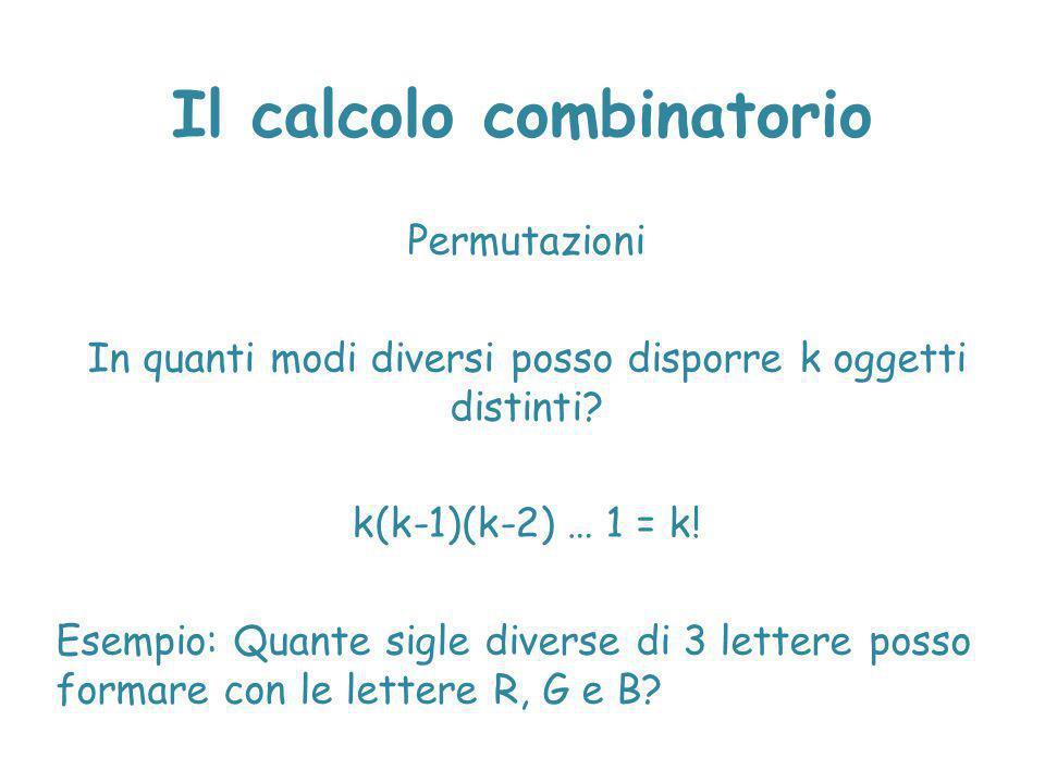 Il calcolo combinatorio Permutazioni In quanti modi diversi posso disporre k oggetti distinti? k(k-1)(k-2) … 1 = k! Esempio: Quante sigle diverse di 3