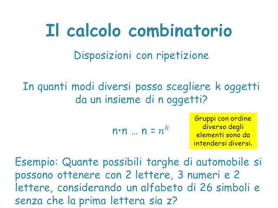 Il calcolo combinatorio Gruppi con ordine diverso degli elementi sono da intendersi diversi.