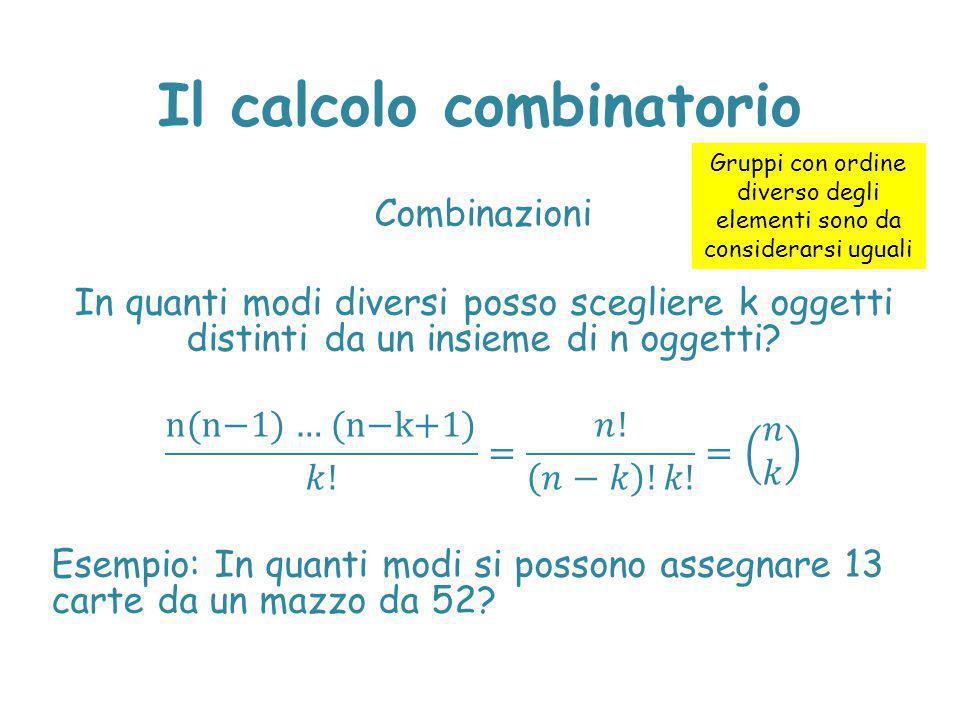 Il calcolo combinatorio Gruppi con ordine diverso degli elementi sono da considerarsi uguali