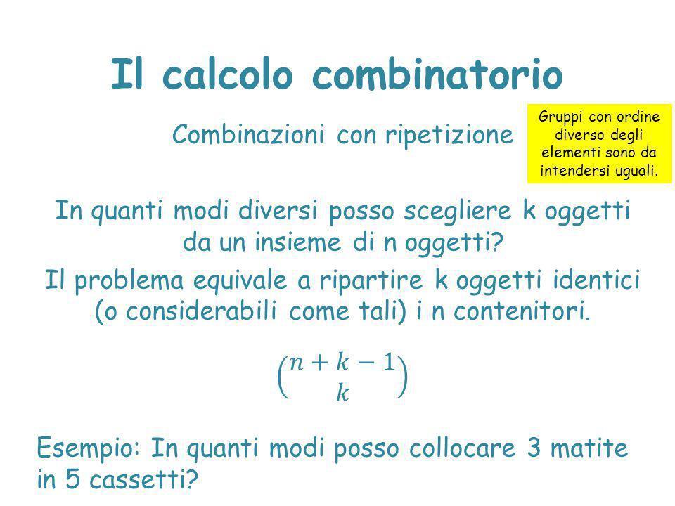 Il calcolo combinatorio Gruppi con ordine diverso degli elementi sono da intendersi uguali.