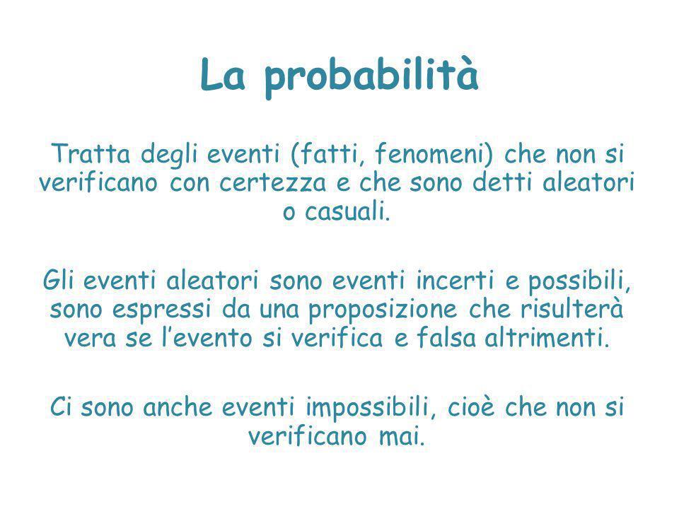 La probabilità Tratta degli eventi (fatti, fenomeni) che non si verificano con certezza e che sono detti aleatori o casuali. Gli eventi aleatori sono