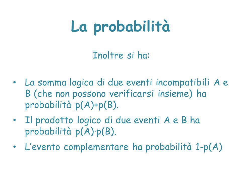 Inoltre si ha: La somma logica di due eventi incompatibili A e B (che non possono verificarsi insieme) ha probabilità p(A)+p(B). Il prodotto logico di