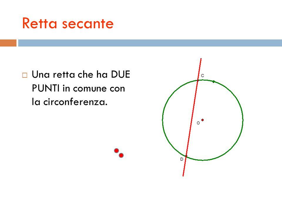 Retta secante  Una retta che ha DUE PUNTI in comune con la circonferenza.