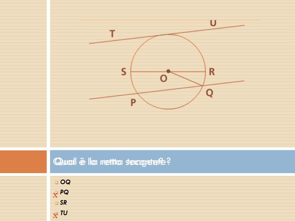 Qual è la retta tangente?  O OQ  P PQ  S SR  T TU X Qual è la retta secante? X