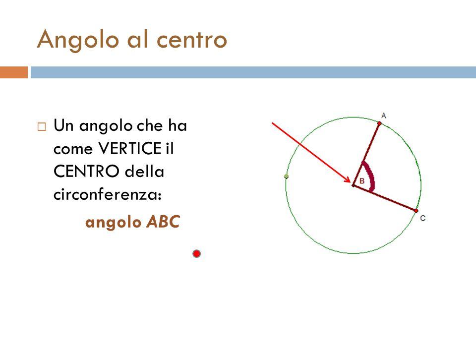 Angolo al centro UUn angolo che ha come VERTICE il CENTRO della circonferenza: angolo ABC