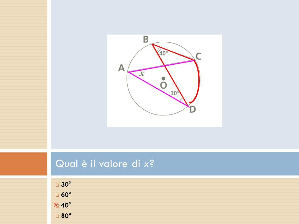 Qual è il valore di x?  30°  60°  40°  80° X