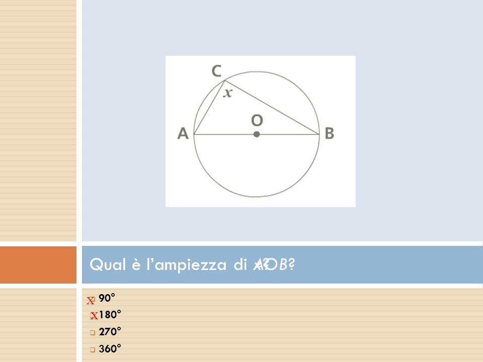  90°  180°  270°  360° Qual è l'ampiezza di AOB? X Qual è l'ampiezza di x? X
