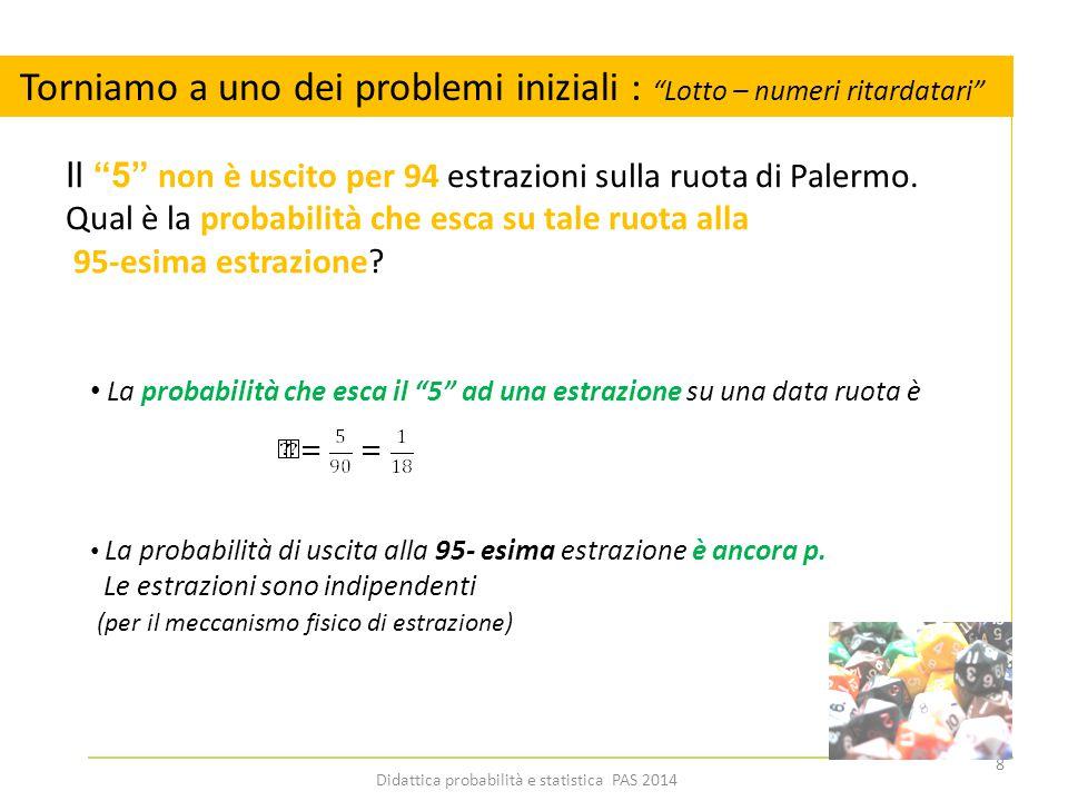 Legge della moltiplicazione – Torniamo ai pb iniziali Il 5 non è uscito per 94 estrazioni sulla ruota di Palermo.