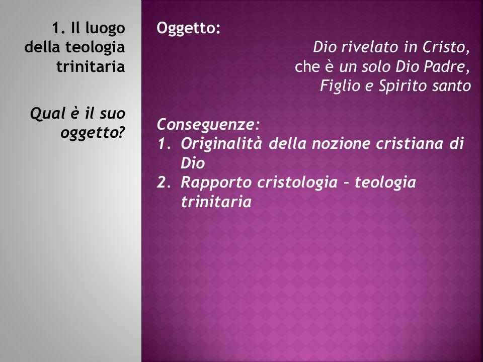 1.Il luogo della teologia trinitaria Qual è il suo oggetto.