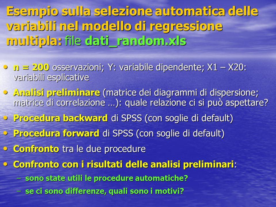 n = 200 osservazioni; Y: variabile dipendente; X1 – X20: variabili esplicative n = 200 osservazioni; Y: variabile dipendente; X1 – X20: variabili esplicative Analisi preliminare (matrice dei diagrammi di dispersione; matrice di correlazione …): quale relazione ci si può aspettare.