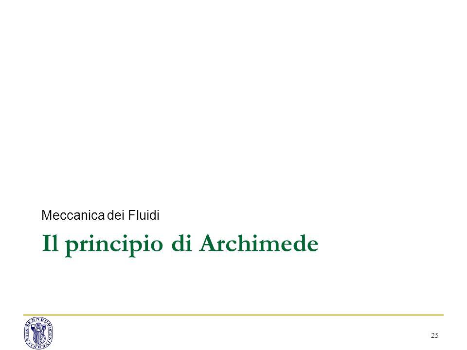 Il principio di Archimede Meccanica dei Fluidi 25