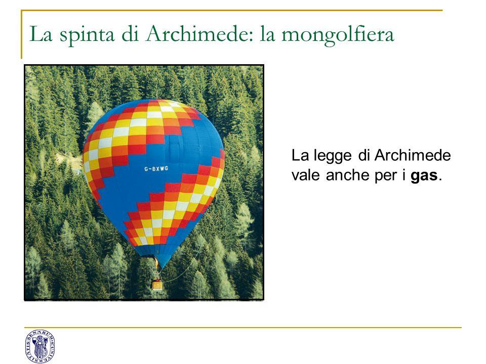 La spinta di Archimede: la mongolfiera La legge di Archimede vale anche per i gas.