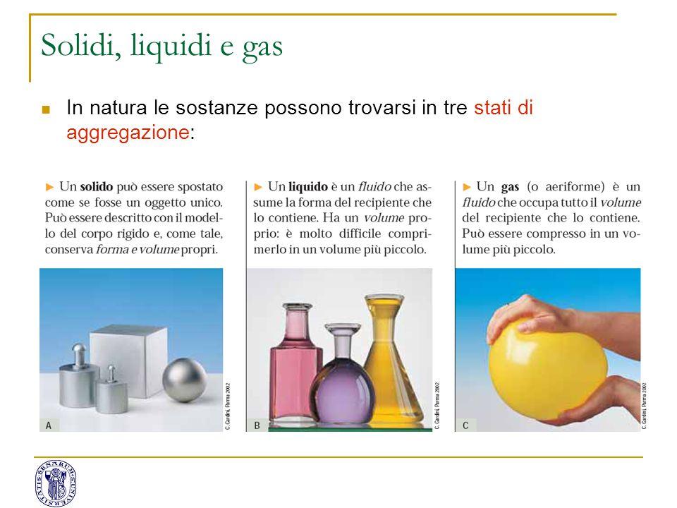 In natura le sostanze possono trovarsi in tre stati di aggregazione: Solidi, liquidi e gas