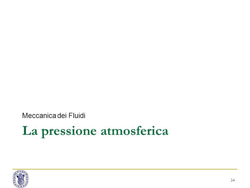 La pressione atmosferica Meccanica dei Fluidi 34