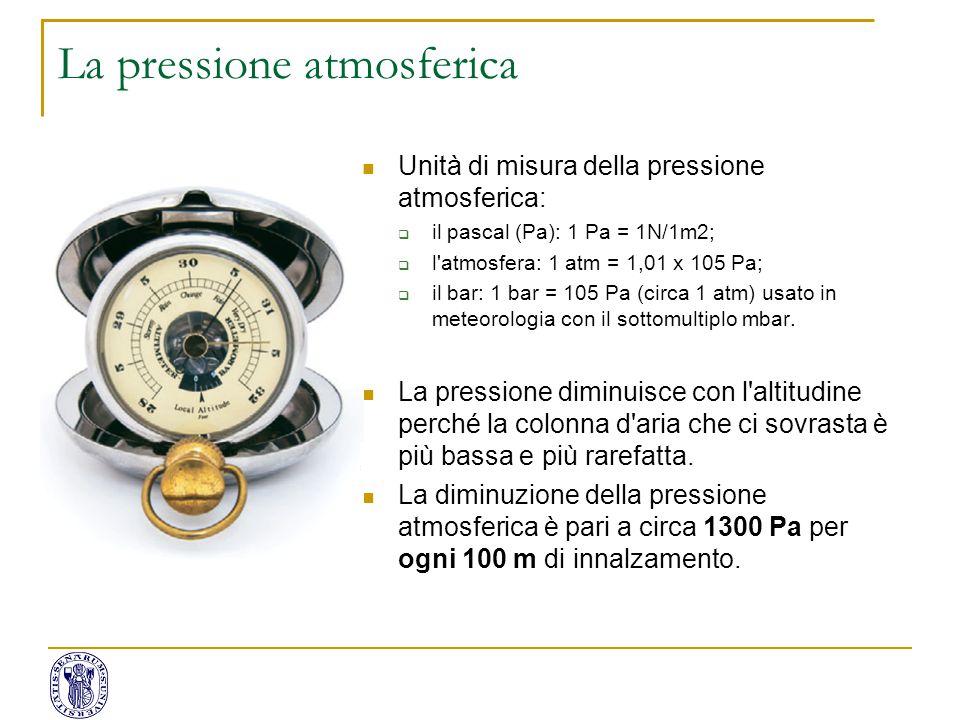 Unità di misura della pressione atmosferica:  il pascal (Pa): 1 Pa = 1N/1m2;  l'atmosfera: 1 atm = 1,01 x 105 Pa;  il bar: 1 bar = 105 Pa (circa 1