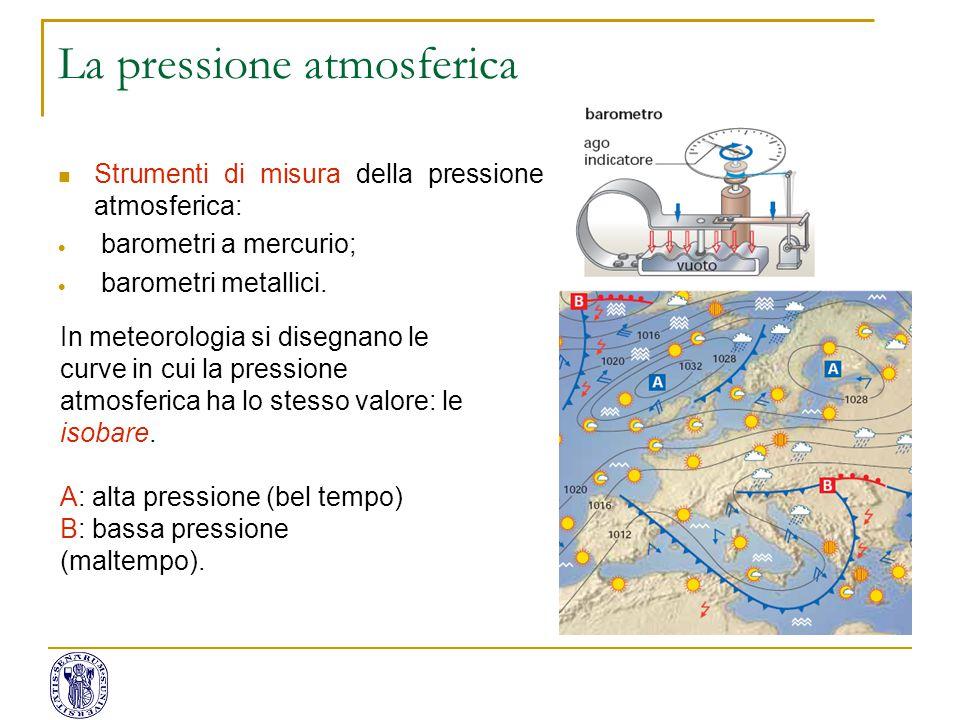 Strumenti di misura della pressione atmosferica:  barometri a mercurio;  barometri metallici. In meteorologia si disegnano le curve in cui la pressi