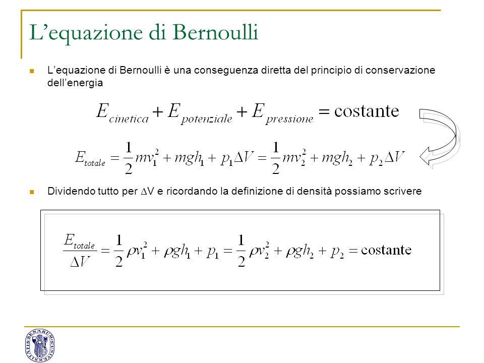 L'equazione di Bernoulli è una conseguenza diretta del principio di conservazione dell'energia Dividendo tutto per  V e ricordando la definizione di
