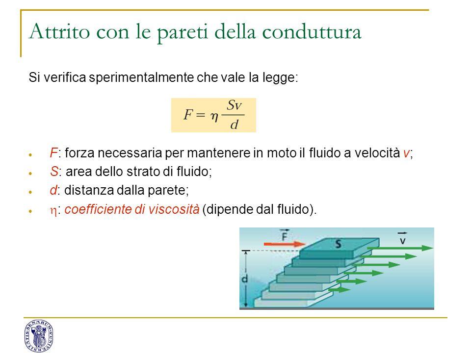 Si verifica sperimentalmente che vale la legge:  F: forza necessaria per mantenere in moto il fluido a velocità v;  S: area dello strato di fluido;