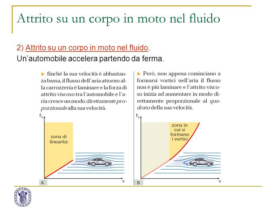 2) Attrito su un corpo in moto nel fluido. Un'automobile accelera partendo da ferma. Attrito su un corpo in moto nel fluido