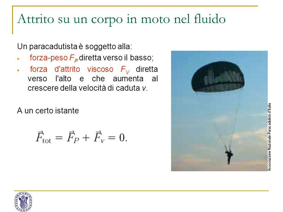 Un paracadutista è soggetto alla:  forza-peso F P diretta verso il basso;  forza d'attrito viscoso F V diretta verso l'alto e che aumenta al crescer