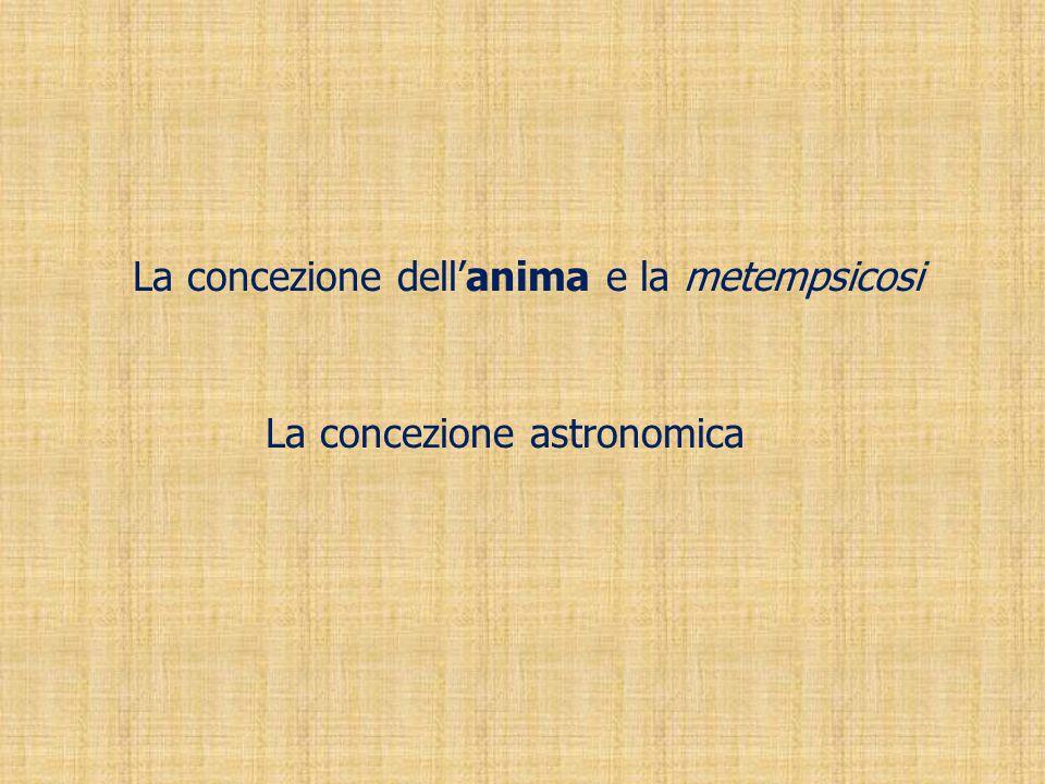 La concezione dell'anima e la metempsicosi La concezione astronomica