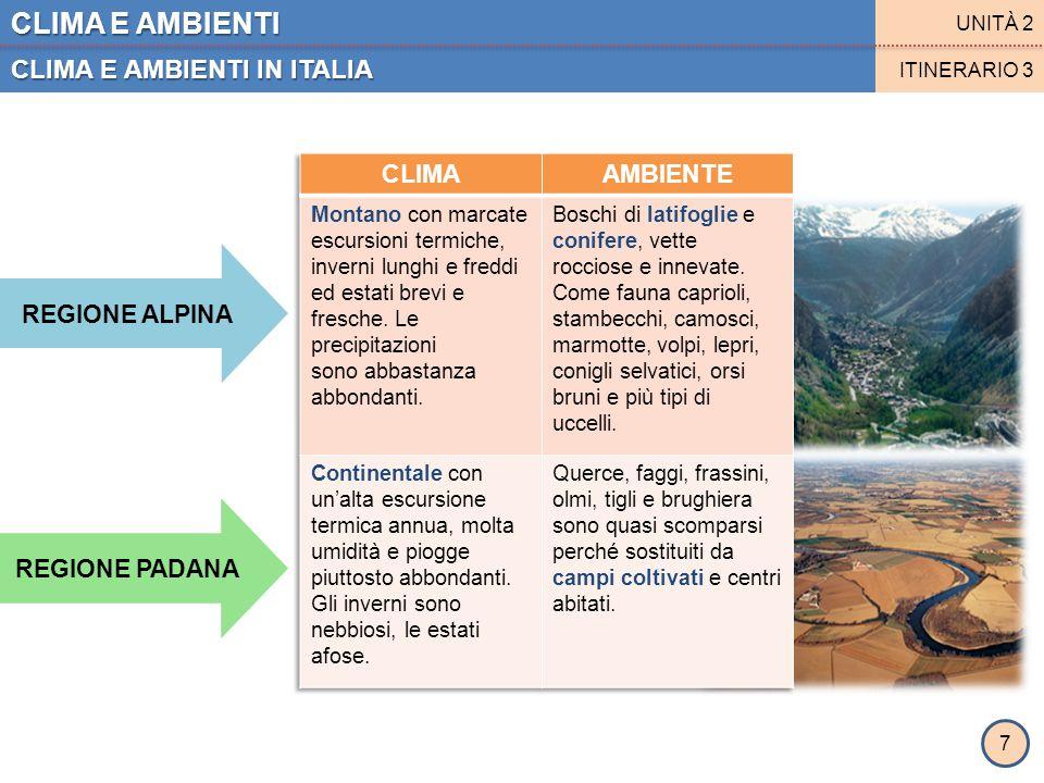CLIMA E AMBIENTI CLIMA E AMBIENTI IN ITALIA UNITÀ 2 ITINERARIO 3 REGIONE APPENNINICA REGIONE LIGURE- TIRRENICA 8