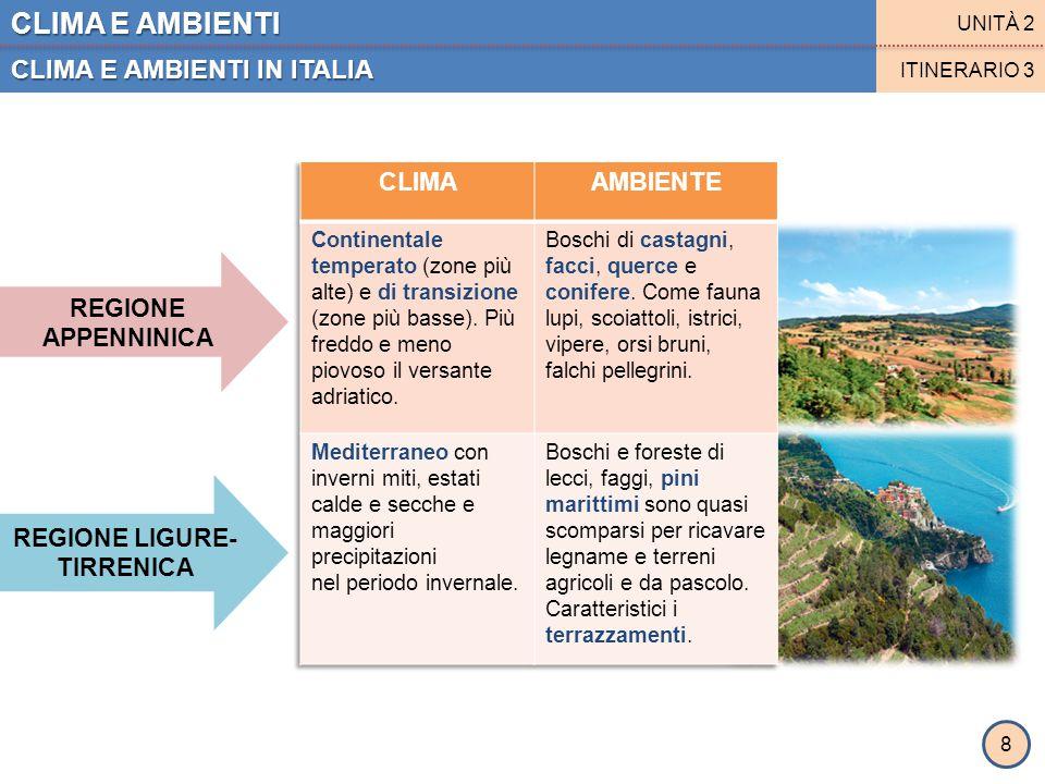 CLIMA E AMBIENTI CLIMA E AMBIENTI IN ITALIA UNITÀ 2 ITINERARIO 3 REGIONE ADRIATICA REGIONE CALABRO- INSULARE 9