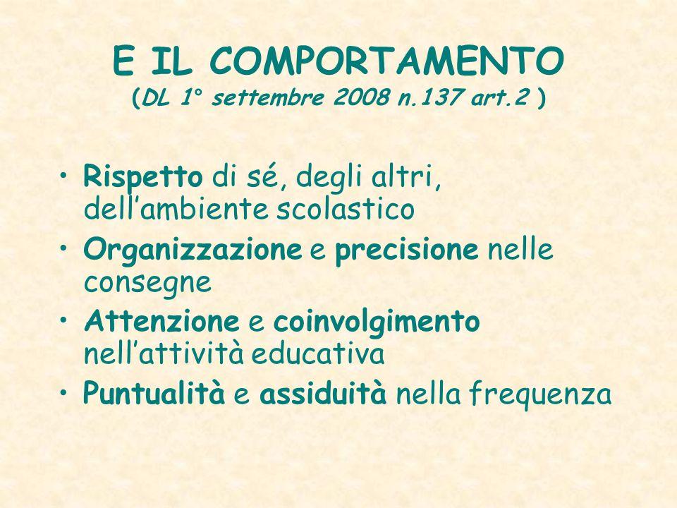 E IL COMPORTAMENTO (DL 1° settembre 2008 n.137 art.2 ) Rispetto di sé, degli altri, dell'ambiente scolastico Organizzazione e precisione nelle consegn