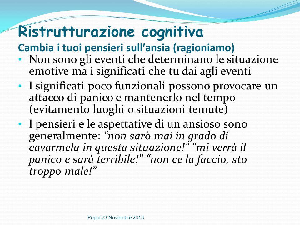 Ristrutturazione cognitiva Cambia i tuoi pensieri sull'ansia (ragioniamo) Non sono gli eventi che determinano le situazione emotive ma i significati