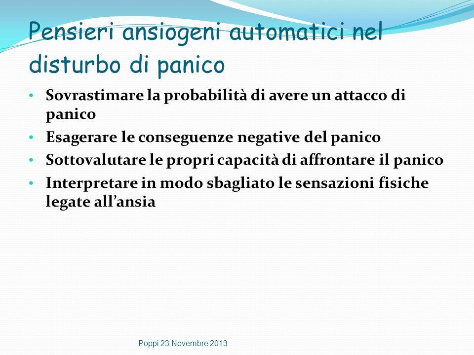 Pensieri ansiogeni automatici nel disturbo di panico Sovrastimare la probabilità di avere un attacco di panico Esagerare le conseguenze negative del p