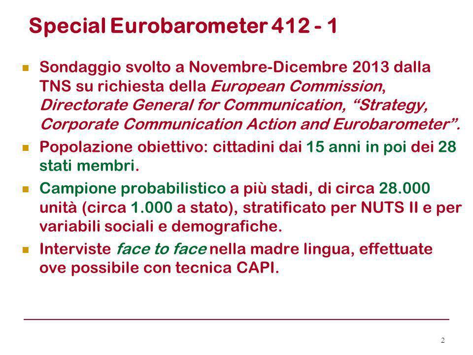 Special Eurobarometer 412 - 1 Sondaggio svolto a Novembre-Dicembre 2013 dalla TNS su richiesta della European Commission, Directorate General for Comm