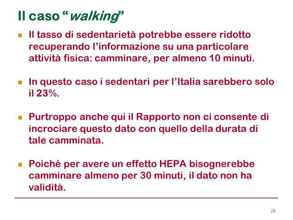 """Il caso """"walking"""" Il tasso di sedentarietà potrebbe essere ridotto recuperando l'informazione su una particolare attività fisica: camminare, per almen"""