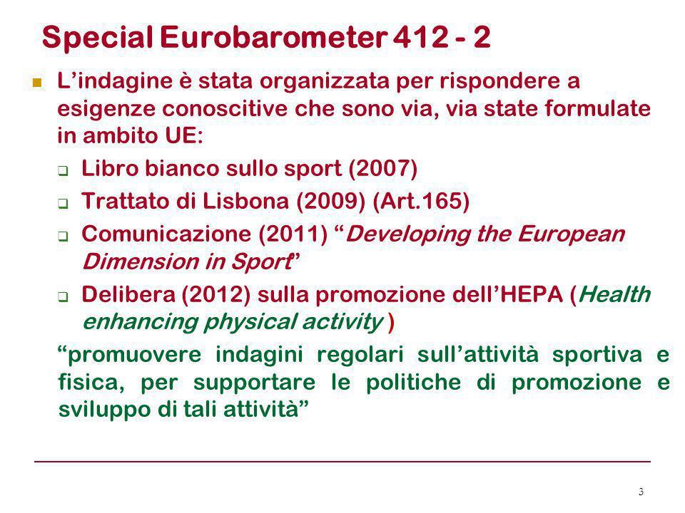 Special Eurobarometer 412 - 2 L'indagine è stata organizzata per rispondere a esigenze conoscitive che sono via, via state formulate in ambito UE:  L