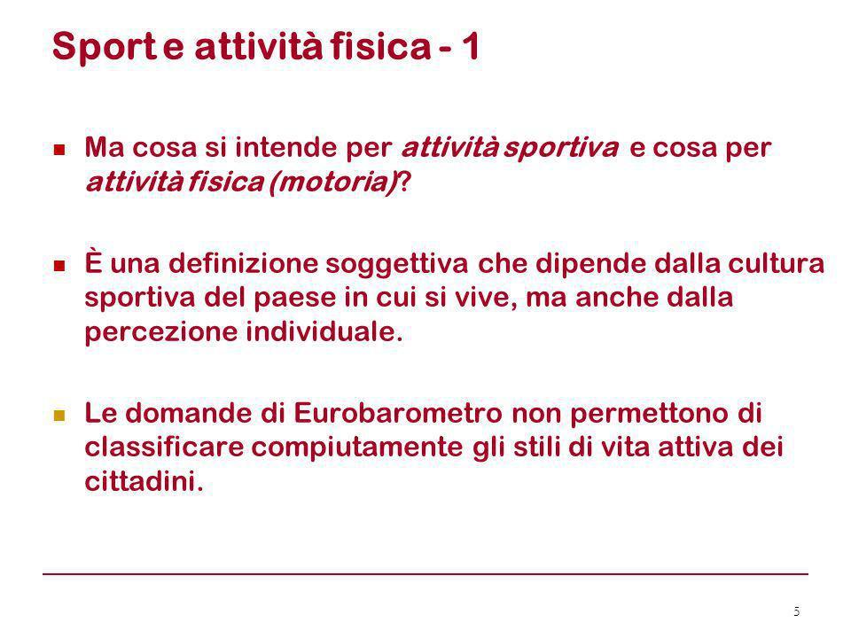 L'Italia – Tabelle T3, T6, T7 16 ItaliaQuasi ogni giorno Più volte a settimana Occasional- mente Mai Sport3 ( = )27 (+1)10 (- 6)60 ( + 5) Att.