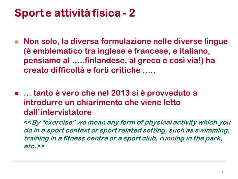 Sport e attività fisica - 2 Non solo, la diversa formulazione nelle diverse lingue (è emblematico tra inglese e francese, e italiano, pensiamo al …..f