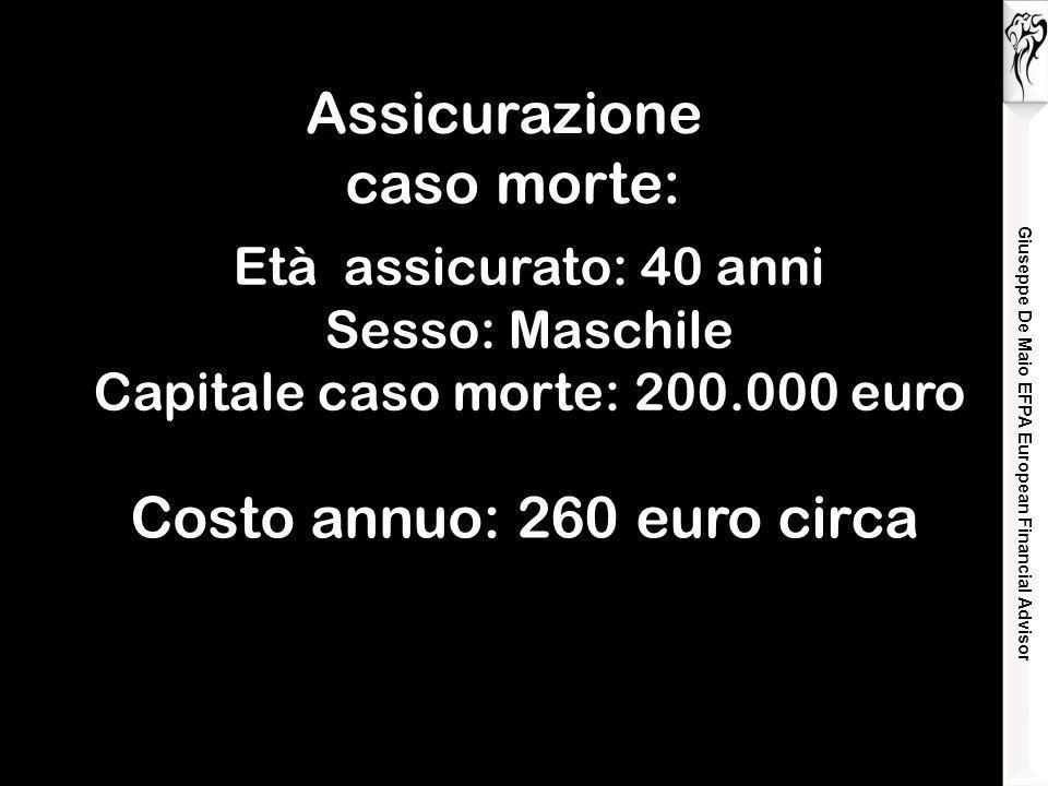 Giuseppe De Maio EFPA European Financial Advisor Assicurazione caso morte: Età assicurato: 40 anni Sesso: Maschile Capitale caso morte: 200.000 euro Costo annuo: 260 euro circa
