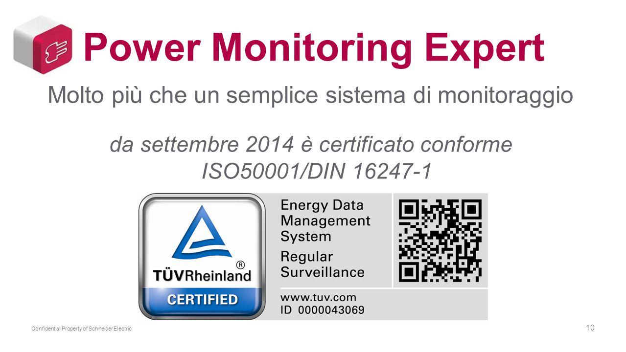 10 Confidential Property of Schneider Electric Power Monitoring Expert Molto più che un semplice sistema di monitoraggio da settembre 2014 è certifica