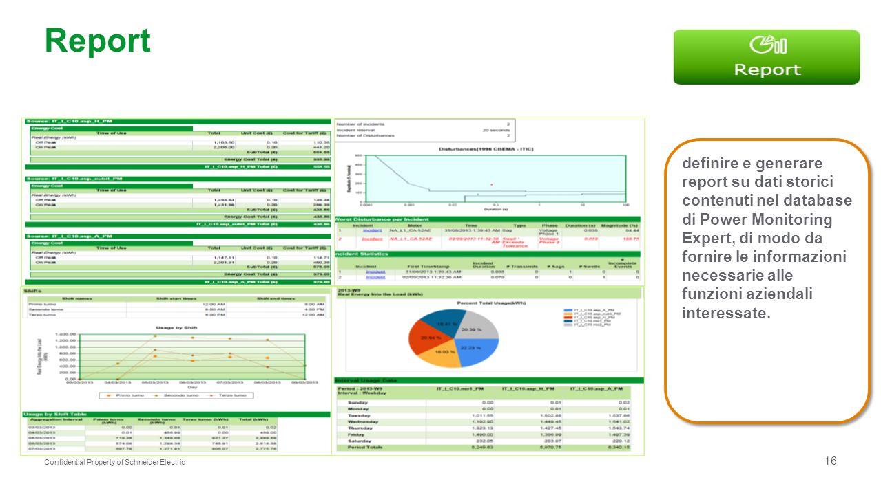 16 Confidential Property of Schneider Electric Report definire e generare report su dati storici contenuti nel database di Power Monitoring Expert, di