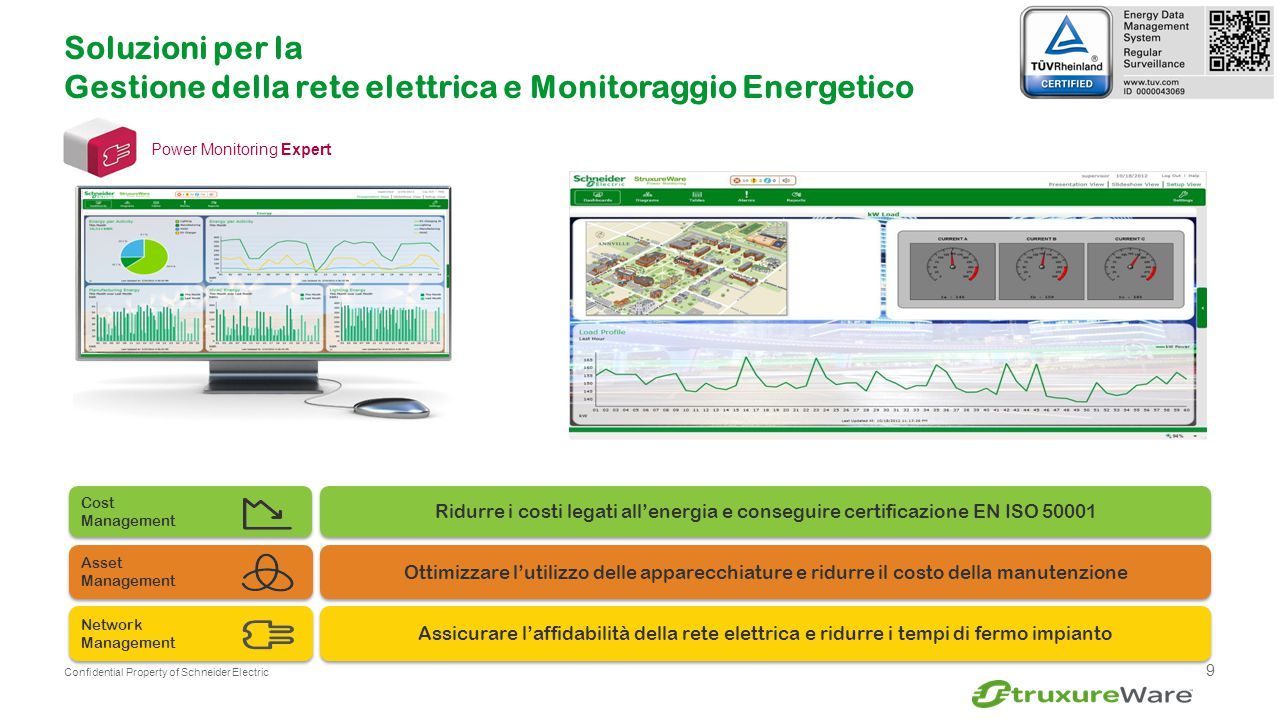 9 Confidential Property of Schneider Electric Assicurare l'affidabilità della rete elettrica e ridurre i tempi di fermo impianto Ridurre i costi legat