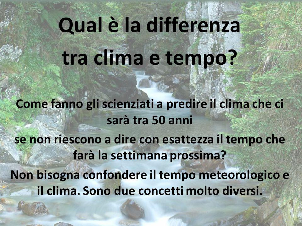 Qual è la differenza tra clima e tempo.