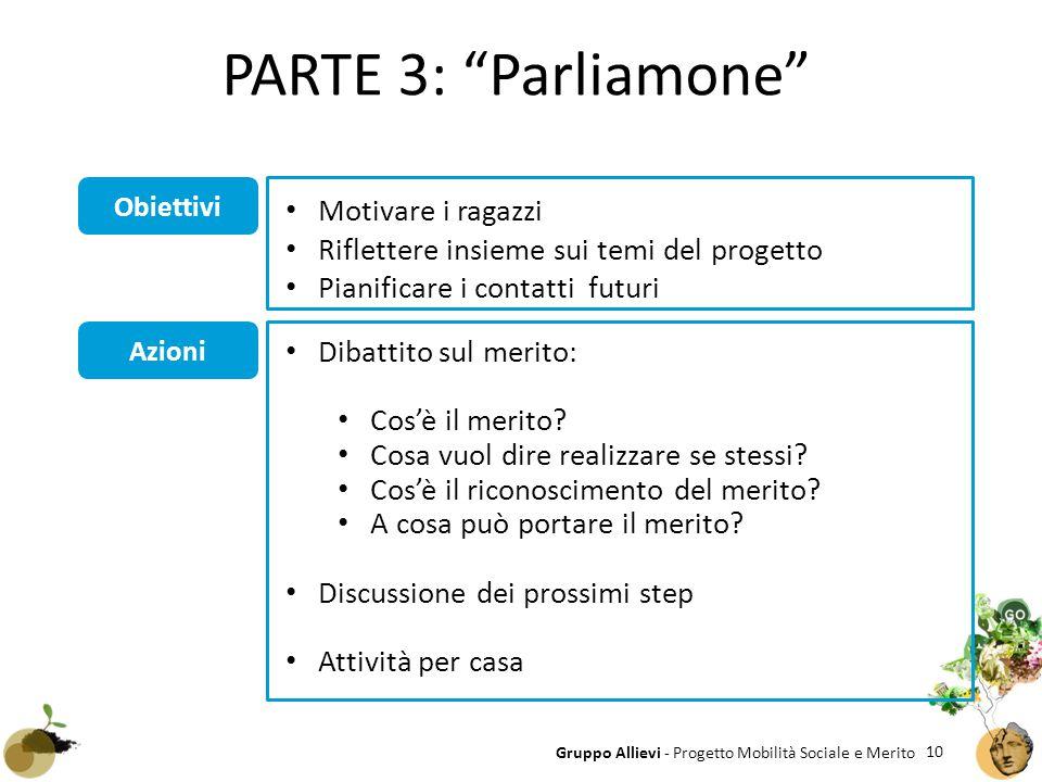 """10 Gruppo Allievi - Progetto Mobilità Sociale e Merito Obiettivi Azioni PARTE 3: """"Parliamone"""" Dibattito sul merito: Cos'è il merito? Cosa vuol dire re"""